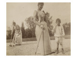 Claire Salles, Robert Salles et une femme posant un croquet Gicléetryck av Alexandre-Gustave Eiffel