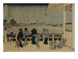 Characters Contemplating the Mount Fuji of a Terrace Giclee Print by Katsushika Hokusai