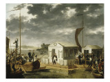 Entrevue de Napoléon Ier et du tsar Alexandre Ier de Russie sur le Niemen le 25 juin 1807 Giclee Print by Adolphe Roehn