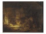 Intérieur de chaumière Giclée-Druck von Adrien Van Ostade