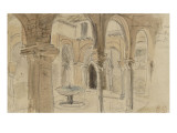Inner Courtyard of the Monastery of Seville, May 1832 Gicl&#233;e-Druck von Eugene Delacroix
