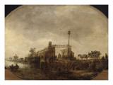 Paysage avec charrette sur une digue Giclée-Druck von Jan Van Goyen