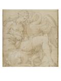 Léda à demie-nue assise jouant avec un cygne Giclee Print by Nicolò dell' Abate