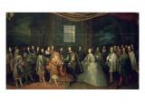 Entrevue de Louis XIV et de Philippe IV dans l'île des Faisans, le 7 juin 1660 Giclee Print by Charles Le Brun
