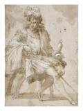 Seigneur assis tenant un faucon sur le poing gauche Giclee Print by Nicolò dell' Abate