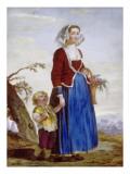 Paysanne italienne et son enfant Giclée-Druck von Nicolas Vleughels