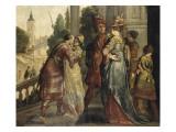 Réunions de dames et de cavaliers sur le perron d'un château Giclée-Druck von Claude Vignon