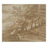 Paysage montangeux Lámina giclée por Pier Francesco Mola