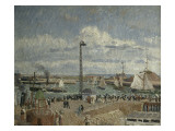 L&#39;Anse Drivers at Le Havre, High Seas Afternoon Sun Giclee Print by Camille Pissarro