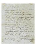 Letter from Joseph Bonaparte Antony Padua Carcopino Giclee Print