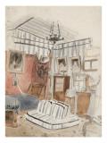 """Intérieur présenté comme une tente étude pour """"L'appartement du Comte de Mornay"""" Giclee Print by Eugene Delacroix"""