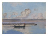 Marine: Boat Green in the Foreground with Two Figures Giclee Print by Charles Cottet