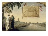 Map of the Chartreuse of Paris Carried by Two Angels Giclee Print by Eustache Le Sueur