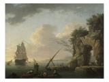 Marine par temps calme. Effet de soleil couchant Giclée-Druck von Claude Joseph Vernet