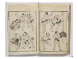 Manga: Many Wrestlers Performing Training Exercises Giclee Print by Katsushika Hokusai