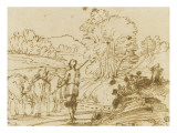 Landscape with a Herdsman Driving a Herd of Cattle Giclee Print by Annibale Carrache