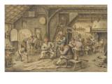 Intérieur d'estaminet Giclée-Druck von Adrien Van Ostade