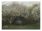 Lilas, temps gris, ou Le repos sous les lilas, jardin de Monet à Argenteuil Giclee Print by Claude Monet
