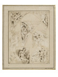 Leaf Study of Figures in the Spandrels and Cartoons Giclée-tryk af Giovanni Lanfranco