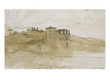 Italian Landscape. Banks of the Tiber. Walk Poussin. Giclee Print by Gustave Moreau