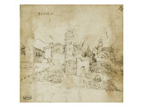 Paysage avec une cité : vue de Sienne Giclée-tryk af Domenico Beccafumi