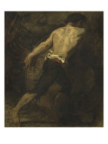 Homme poussant un canon Giclee Print by Thomas Couture