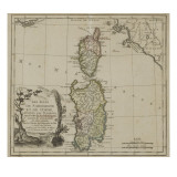 Carte de la Corse et de la Sardaigne Reproduction proc&#233;d&#233; gicl&#233;e