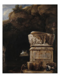 Paysage a grotte avec sarcophage antique (1717) Giclee Print by Jean-Fran&#231;ois Millet