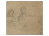 Homme assis devant un piano, une femme à ses côtés; étude pour George Sand et Chopin Giclee Print by Eugene Delacroix