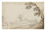 Paysage avec un arbre à droite et un mur à gauche Giclée-tryk af Cristofano Allori