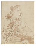 Portrait-charge de Lemonnier jouant de la flûte Giclée-Druck von Francois Andre Vincent
