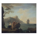 Amants &#224; la p&#234;che Gicl&#233;e-Druck von Claude-Joseph Vernet
