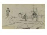 Landscape with Boat, Two Carriages, People and Trees Giclee Print by Paul Gauguin