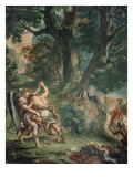 Jacob luttant avec l'Ange Giclee Print by Eugene Delacroix