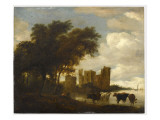 Paysage avec le château d'Egmond Giclée-Druck von Salomon Van Ruysdael