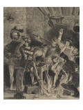 Mephistopheles in the Tavern Students; Second State Giclee Print by Eugene Delacroix