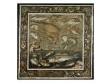 """Mosaïque de Pompéi : """"Poissons dans un fond marin"""" Giclee Print"""