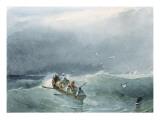 Marine, barque avec cinq marins sur une mer un peu agitée Giclee Print by Richard Parkes Bonington