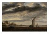 La Marine d'Or, soleil couchant Giclée-Druck von Salomon Van Ruysdael