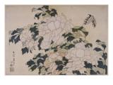 Pivoines et papillons Giclee Print by Katsushika Hokusai