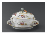 Oval Tureen and Platter, the Decoration of Flowers Giclee Print