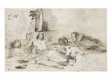 Hommes allongés sur le sol Giclée-tryk af Pier Francesco Mola