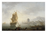 Marine, le midi, p&#234;cheurs tirant un filet Gicl&#233;e-Druck von Claude-Joseph Vernet
