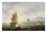 Marine, le midi, pêcheurs tirant un filet Giclée-Druck von Claude Joseph Vernet