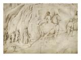 Paysage montagneux avec un cerf ; Martyre de saint Isidore Giclee Print by Jacopo Bellini