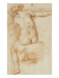 Femme nue assise de dos bras droit &#233;tendu Reproduction proc&#233;d&#233; gicl&#233;e par Francesco Furini
