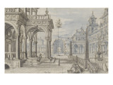 Cour int&#233;rieure de palais Gicl&#233;e-Druck von Hans Vredeman Vries