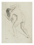 Nude Woman Standing, Leaning Forward, Horses Defeated Giclee Print by Edgar Degas