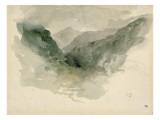 Chaîne de montagnes dans la brume Giclée-tryk af Eugene Delacroix