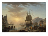 Marine, soleil couchant Gicl&#233;e-Druck von Claude-Joseph Vernet